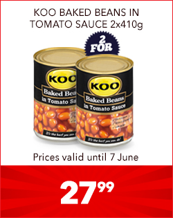 KOO BAKED BEANS IN TOMATO SAUCE 2x410g, 27,99