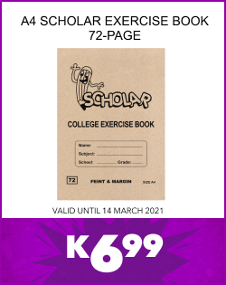 A4 SCHOLAR EXERCISE BOOK 72-PAGE, K6,99