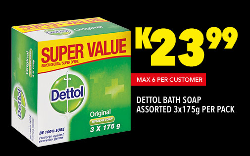 DETTOL BATH SOAP ASSORTED 3x175g PER PACK, K23,99