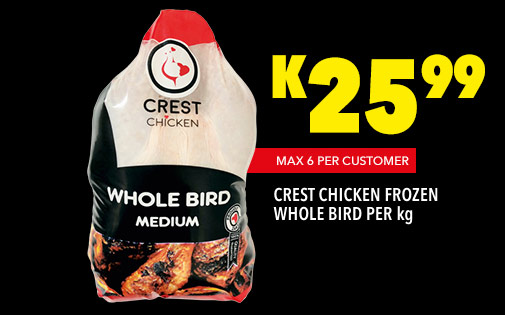 CREST CHICKEN FROZEN WHOLE BIRD PER kg, K25,99