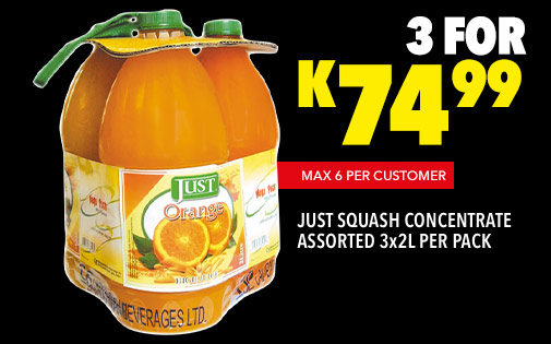 JUST SQUASH CONCENTRATE ASSORTED 3x2L PER PACK, 3 FOR K74,99